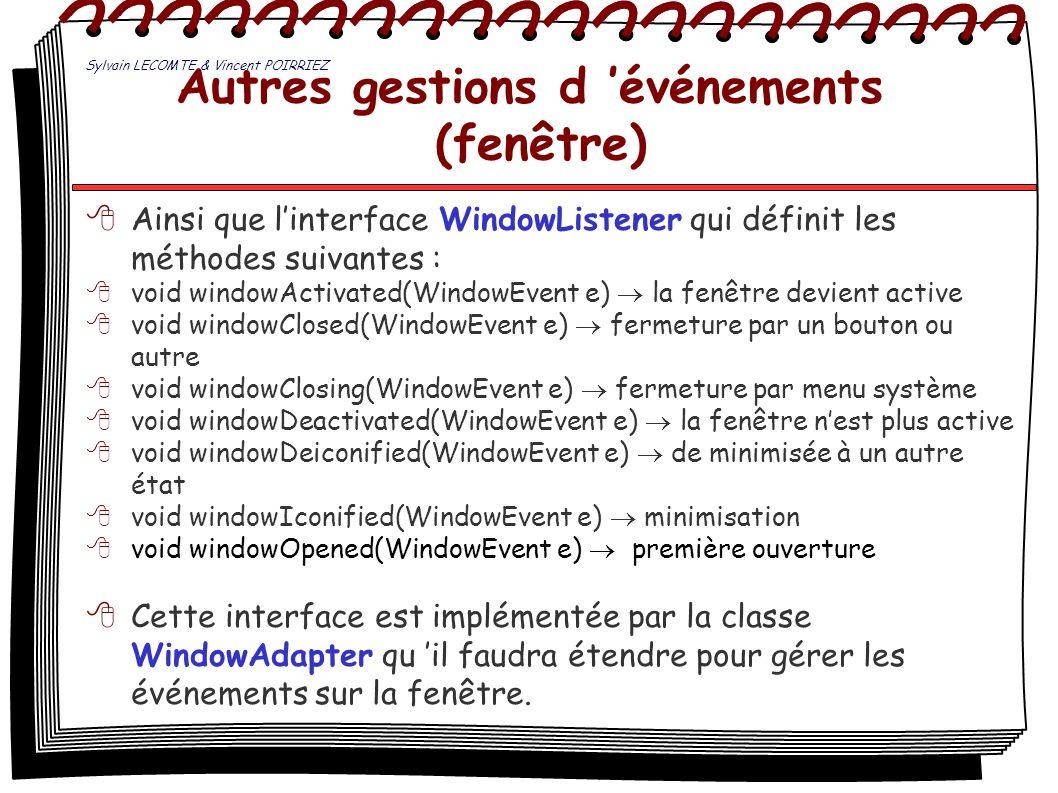 Autres gestions d 'événements (fenêtre)