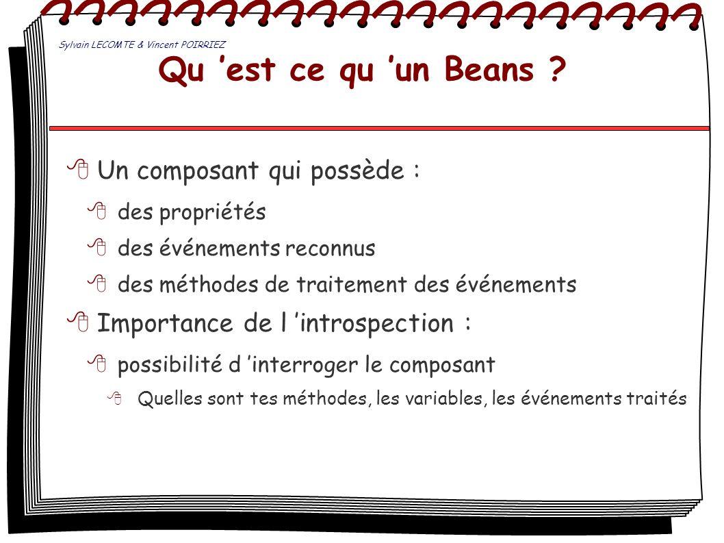 Qu 'est ce qu 'un Beans Un composant qui possède :