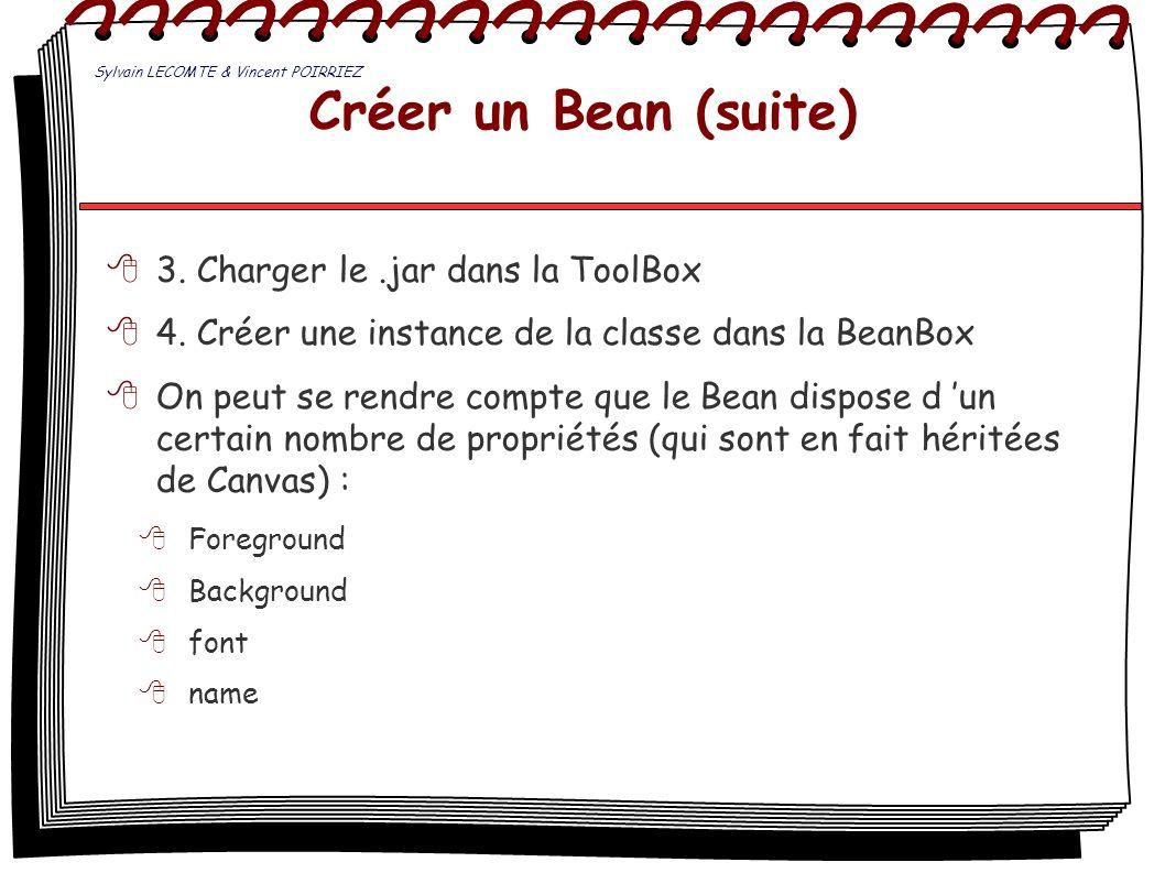Créer un Bean (suite) 3. Charger le .jar dans la ToolBox