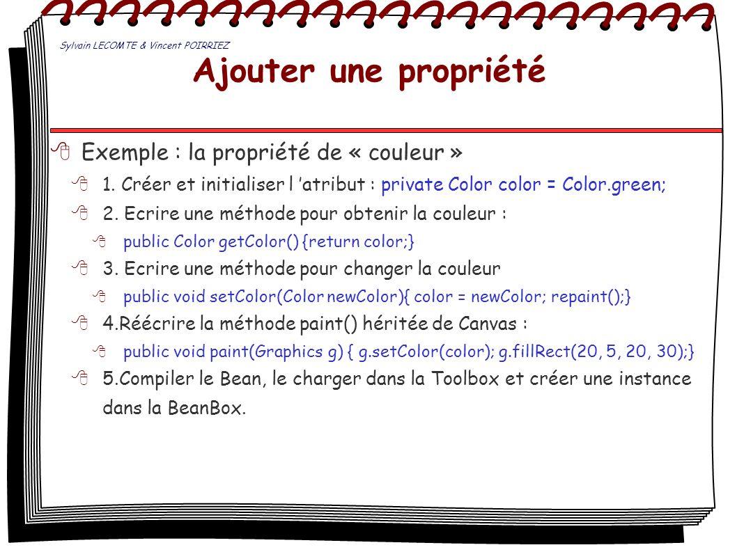 Ajouter une propriété Exemple : la propriété de « couleur »