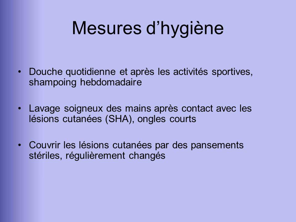Mesures d'hygiène Douche quotidienne et après les activités sportives, shampoing hebdomadaire.