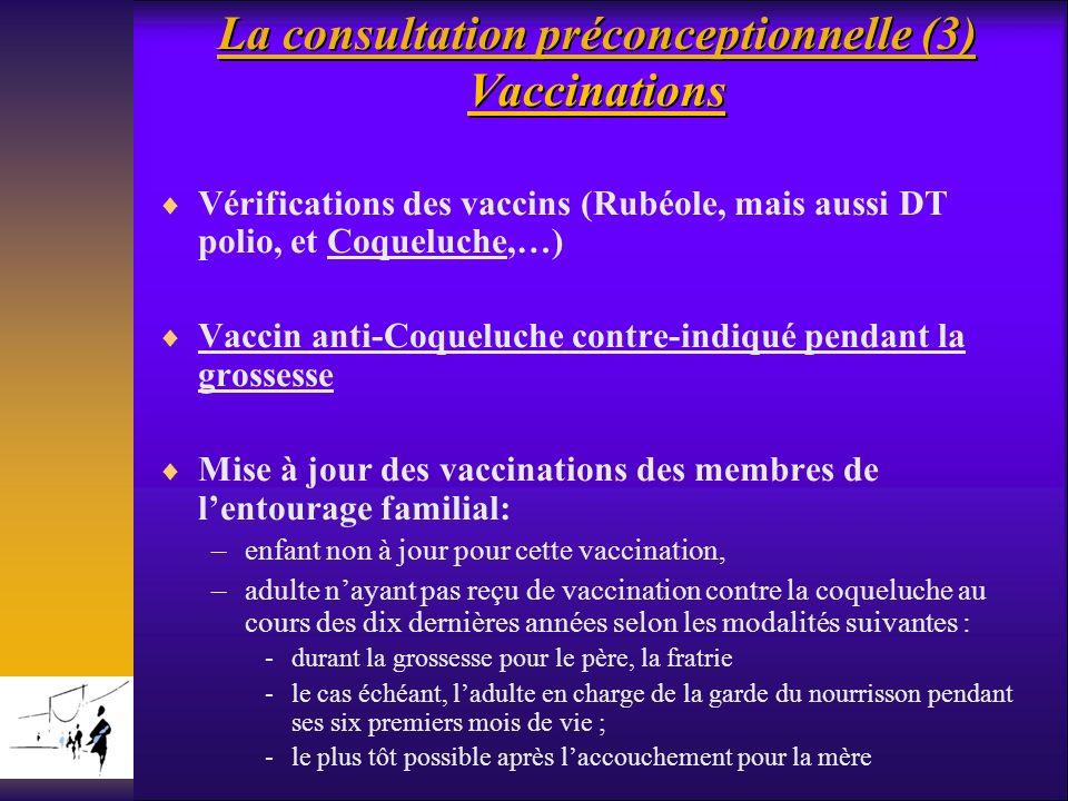 La consultation préconceptionnelle (3) Vaccinations