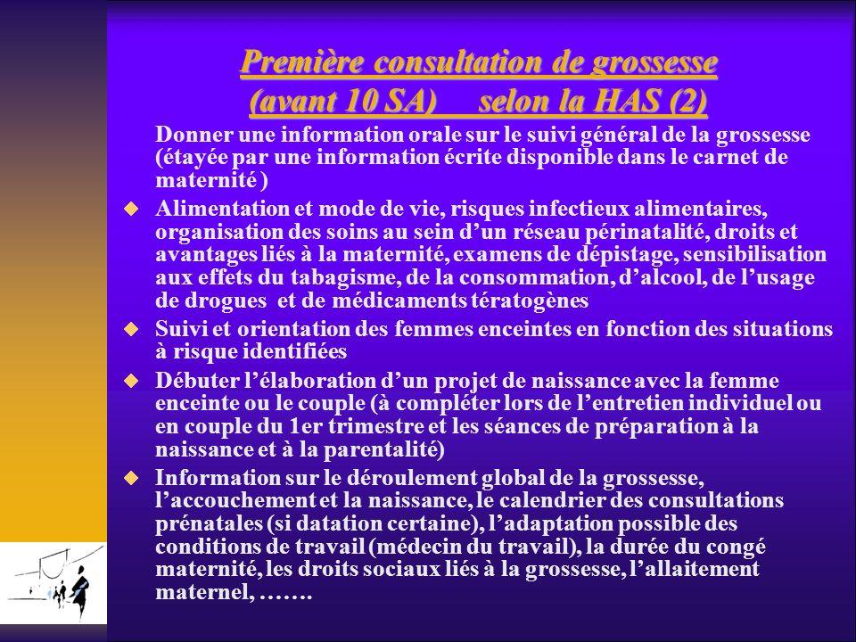 Première consultation de grossesse (avant 10 SA) selon la HAS (2)