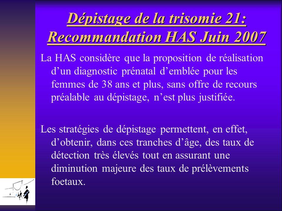 Dépistage de la trisomie 21: Recommandation HAS Juin 2007