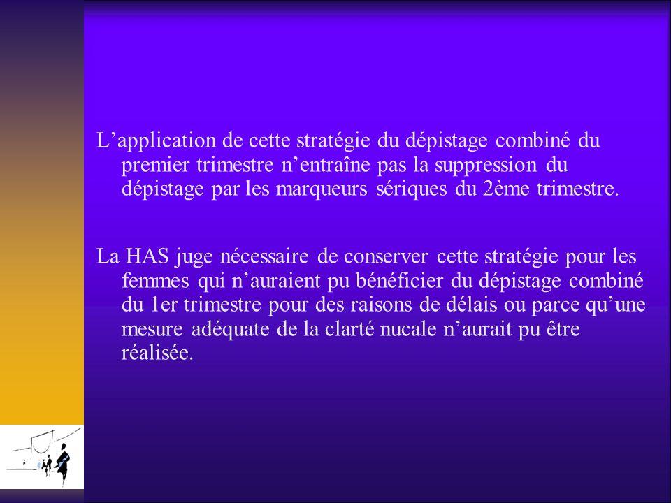 L'application de cette stratégie du dépistage combiné du premier trimestre n'entraîne pas la suppression du dépistage par les marqueurs sériques du 2ème trimestre.