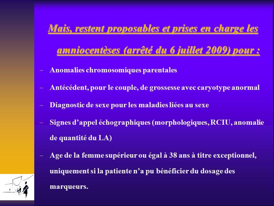Mais, restent proposables et prises en charge les amniocentèses (arrêté du 6 juillet 2009) pour :