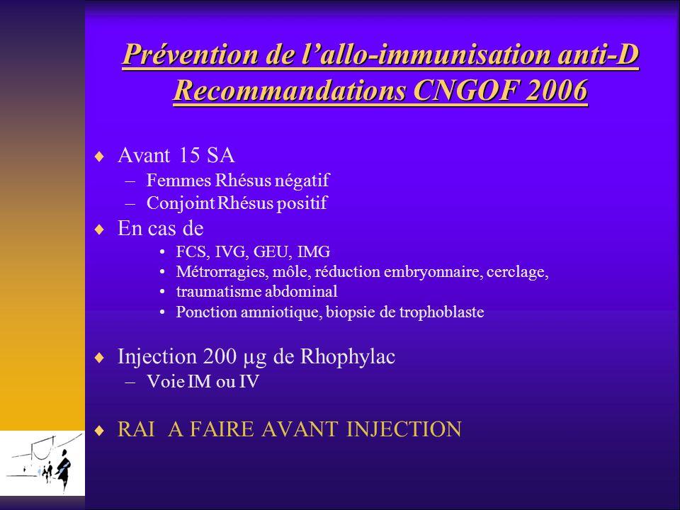 Prévention de l'allo-immunisation anti-D Recommandations CNGOF 2006