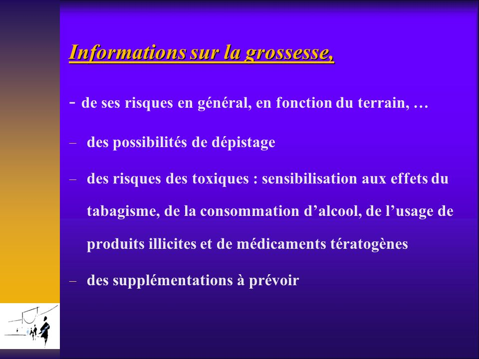 Informations sur la grossesse,
