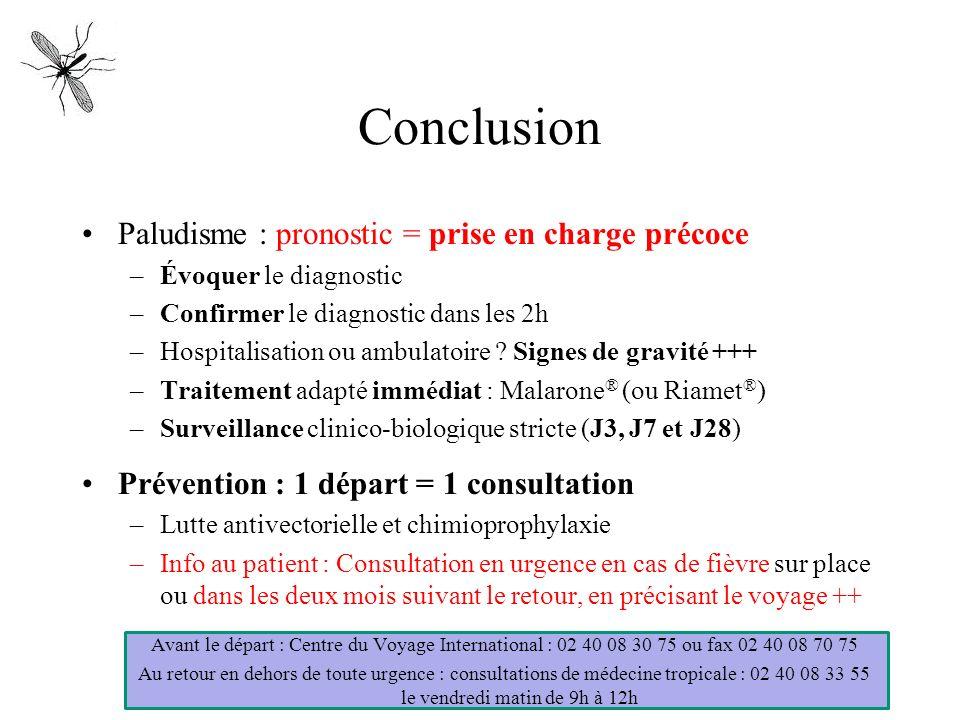 Conclusion Paludisme : pronostic = prise en charge précoce