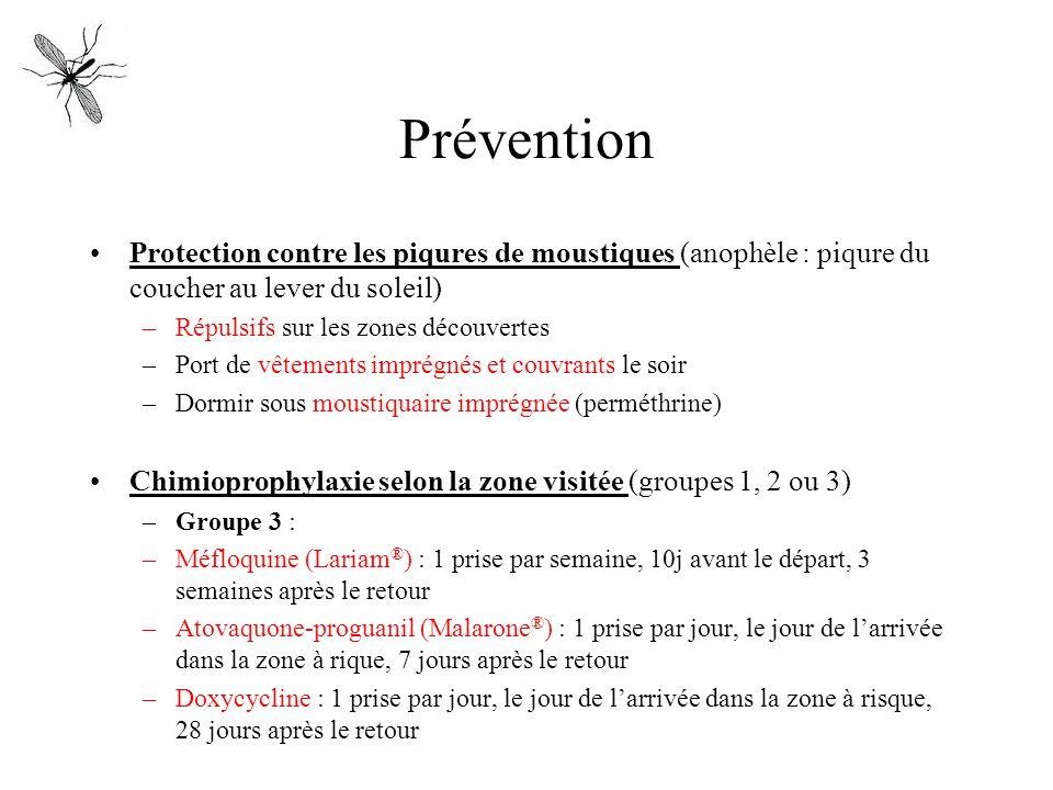 PréventionProtection contre les piqures de moustiques (anophèle : piqure du coucher au lever du soleil)
