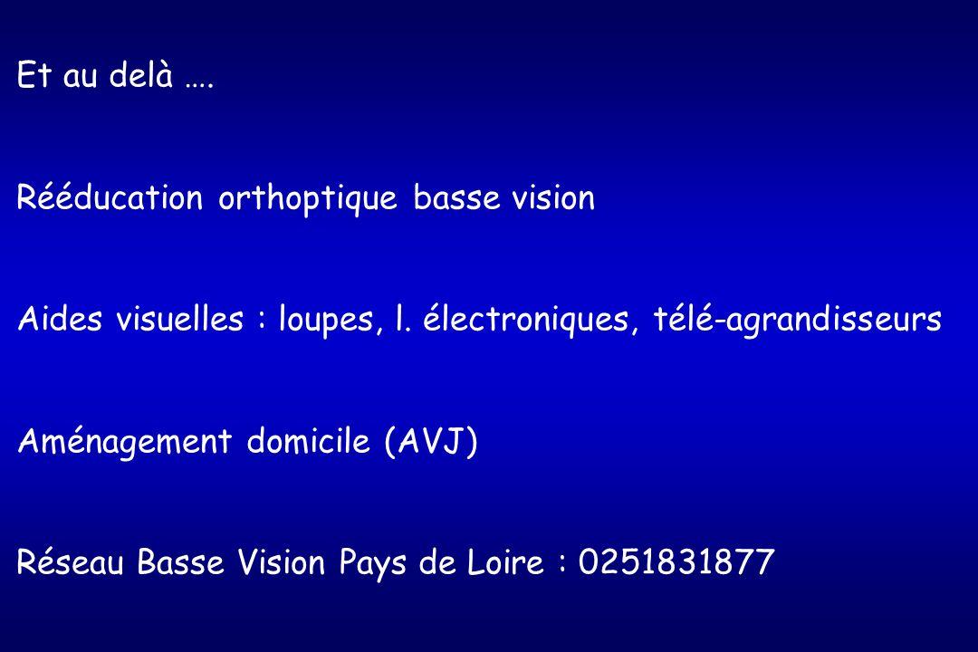 Et au delà …. Rééducation orthoptique basse vision. Aides visuelles : loupes, l. électroniques, télé-agrandisseurs.
