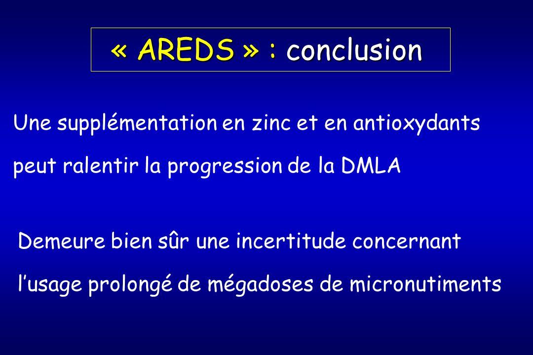 « AREDS » : conclusion Une supplémentation en zinc et en antioxydants