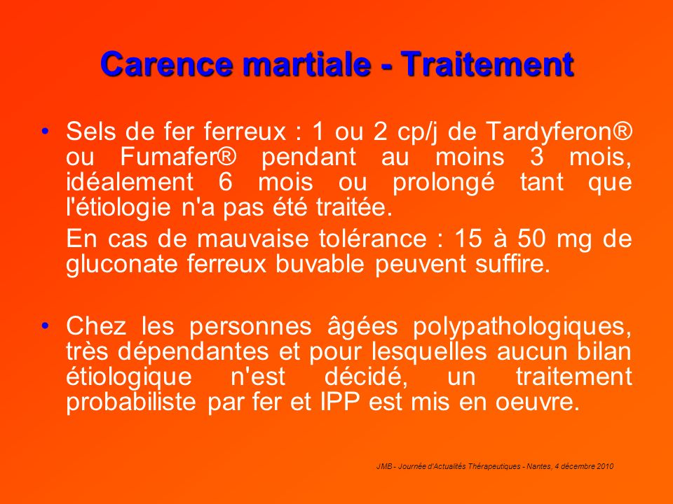 Carence martiale - Traitement