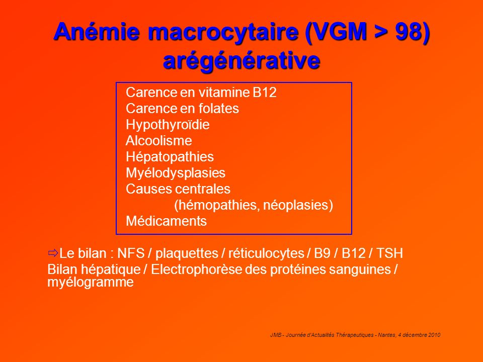 Anémie macrocytaire (VGM > 98) arégénérative