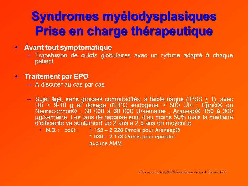 Syndromes myélodysplasiques Prise en charge thérapeutique