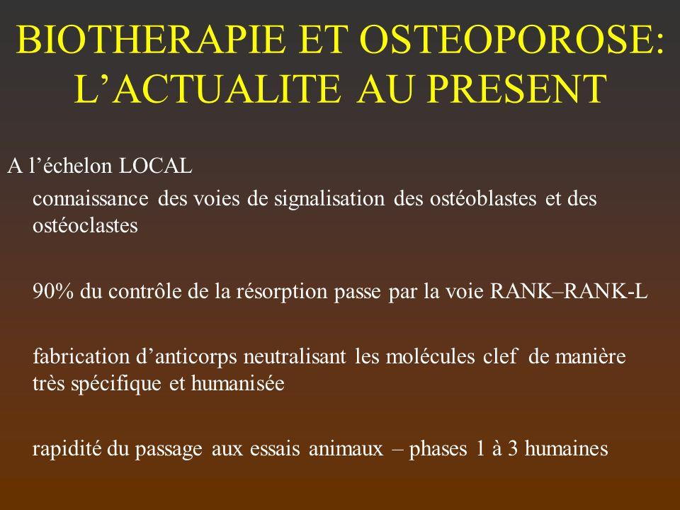 BIOTHERAPIE ET OSTEOPOROSE: L'ACTUALITE AU PRESENT