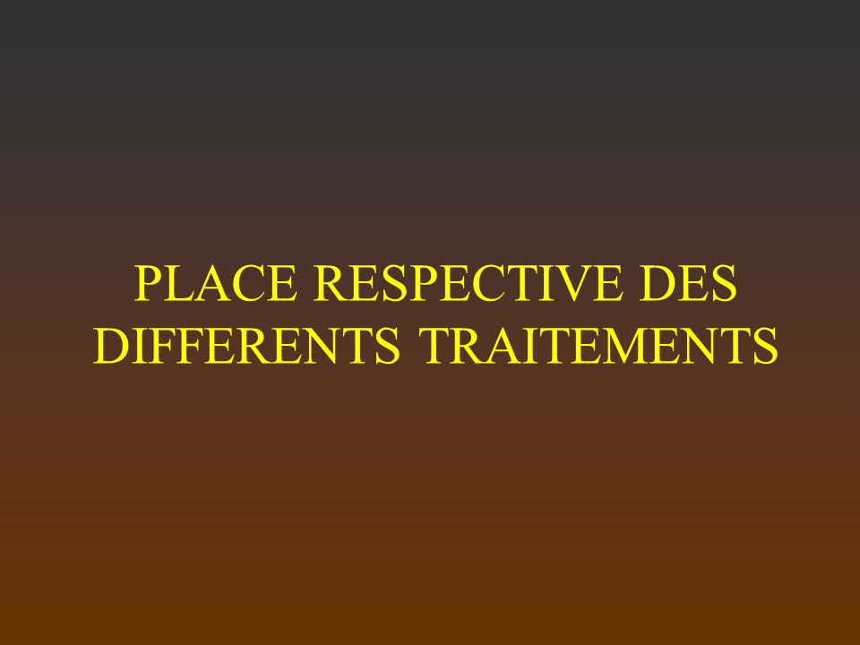 PLACE RESPECTIVE DES DIFFERENTS TRAITEMENTS