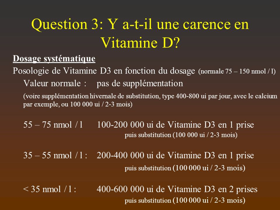 Question 3: Y a-t-il une carence en Vitamine D