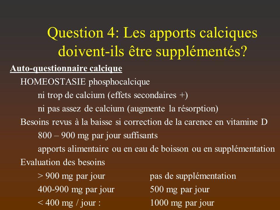 Question 4: Les apports calciques doivent-ils être supplémentés