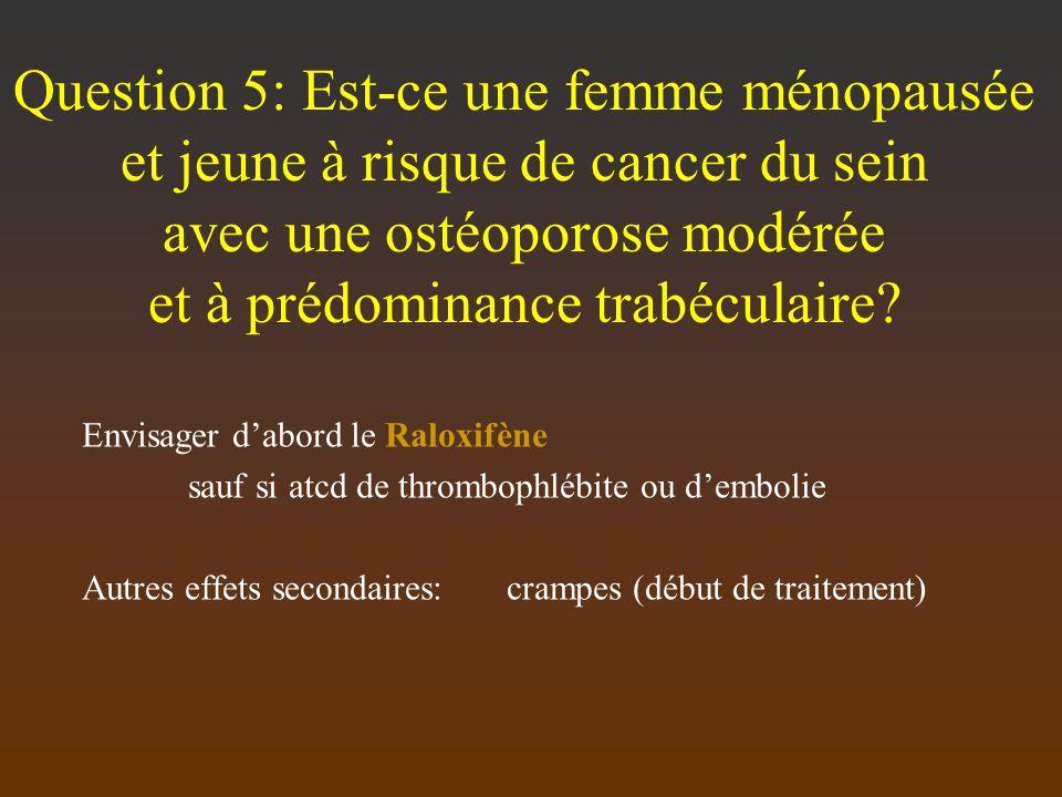 Question 5: Est-ce une femme ménopausée et jeune à risque de cancer du sein avec une ostéoporose modérée et à prédominance trabéculaire