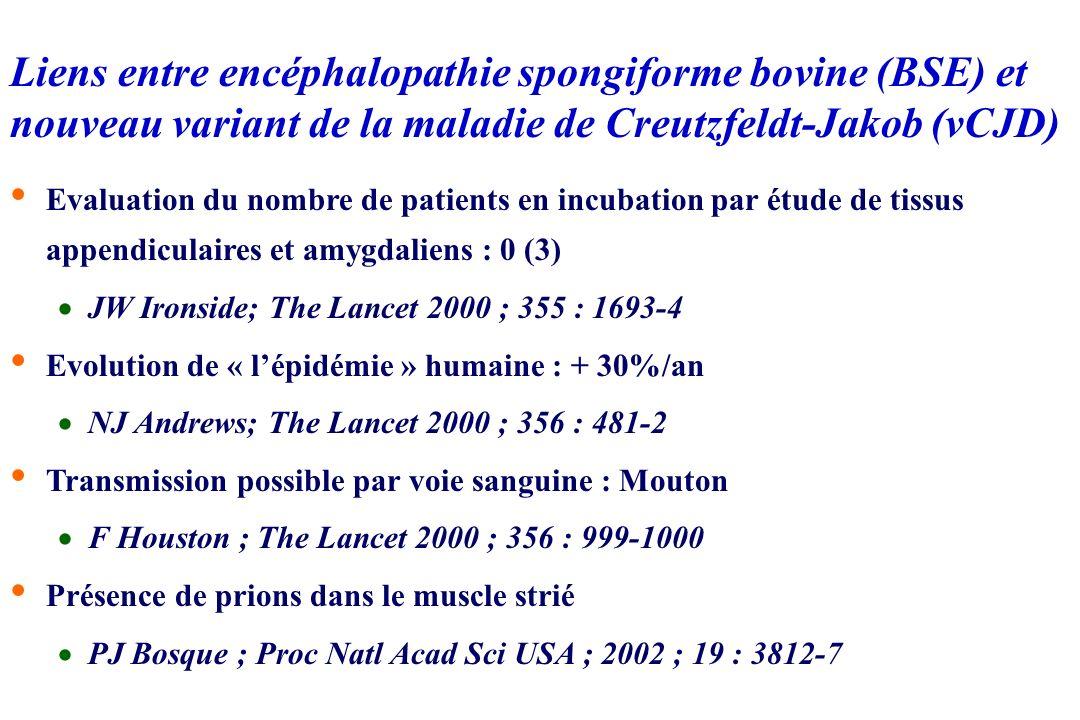 Liens entre encéphalopathie spongiforme bovine (BSE) et