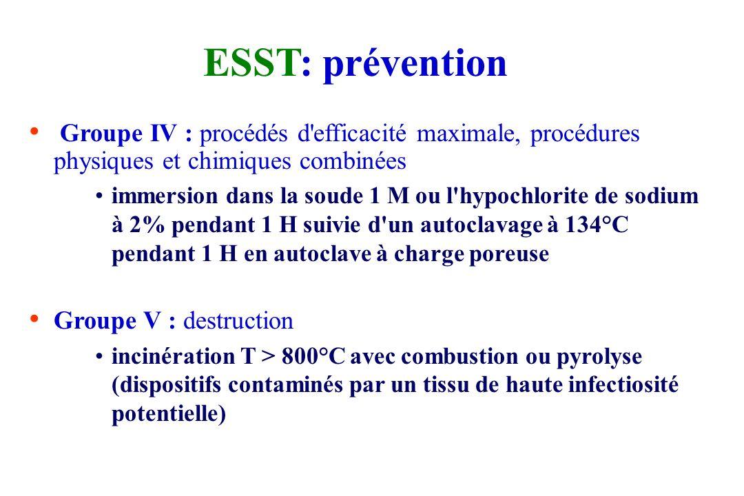ESST: prévention Groupe IV : procédés d efficacité maximale, procédures physiques et chimiques combinées.