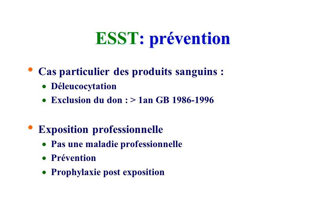 ESST: prévention Cas particulier des produits sanguins :