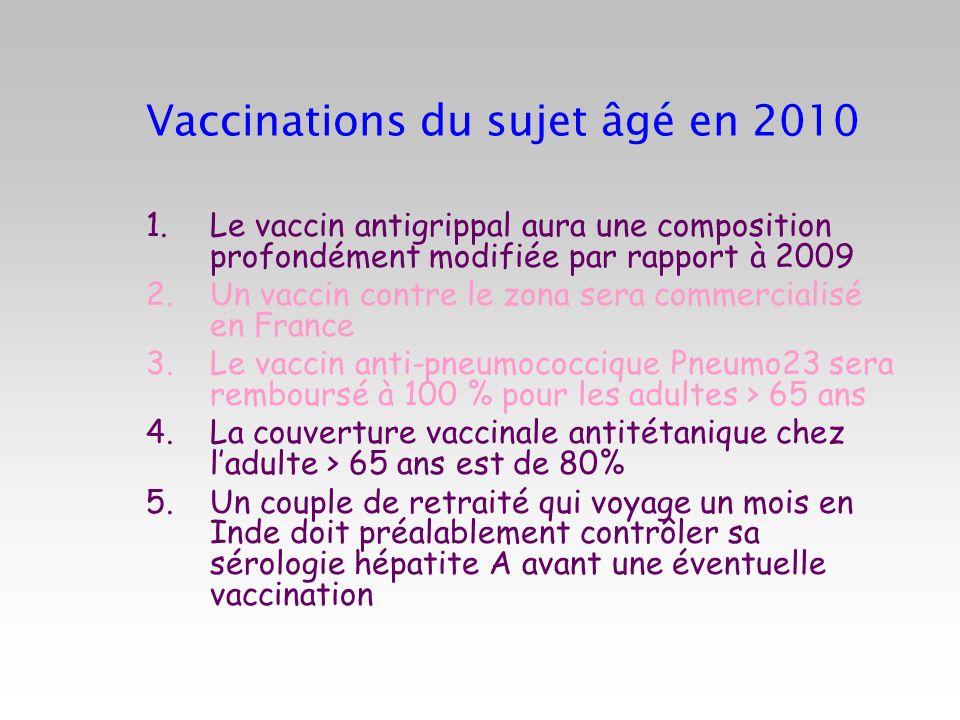 Vaccinations du sujet âgé en 2010