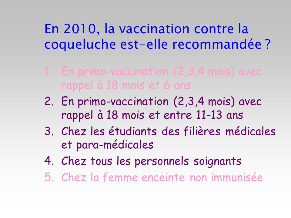 En 2010, la vaccination contre la coqueluche est-elle recommandée