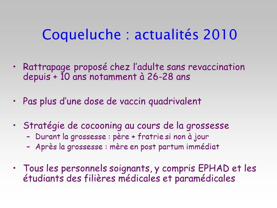 Coqueluche : actualités 2010