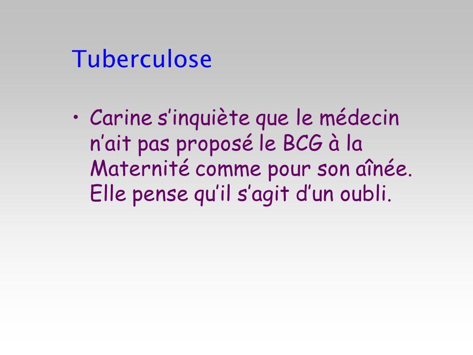 TuberculoseCarine s'inquiète que le médecin n'ait pas proposé le BCG à la Maternité comme pour son aînée.
