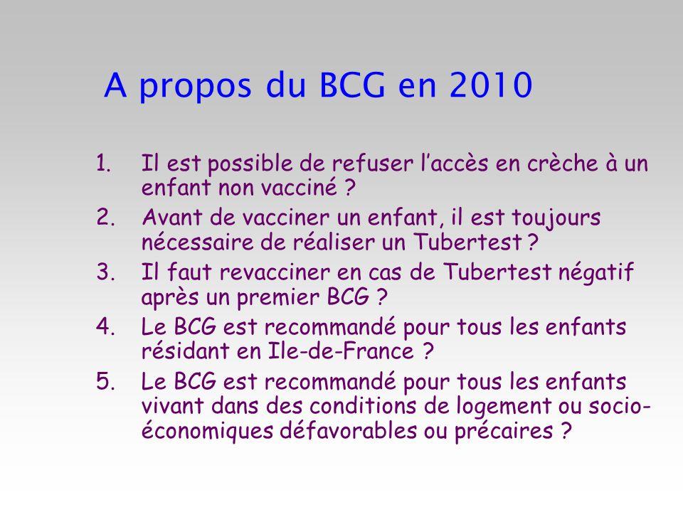A propos du BCG en 2010 Il est possible de refuser l'accès en crèche à un enfant non vacciné