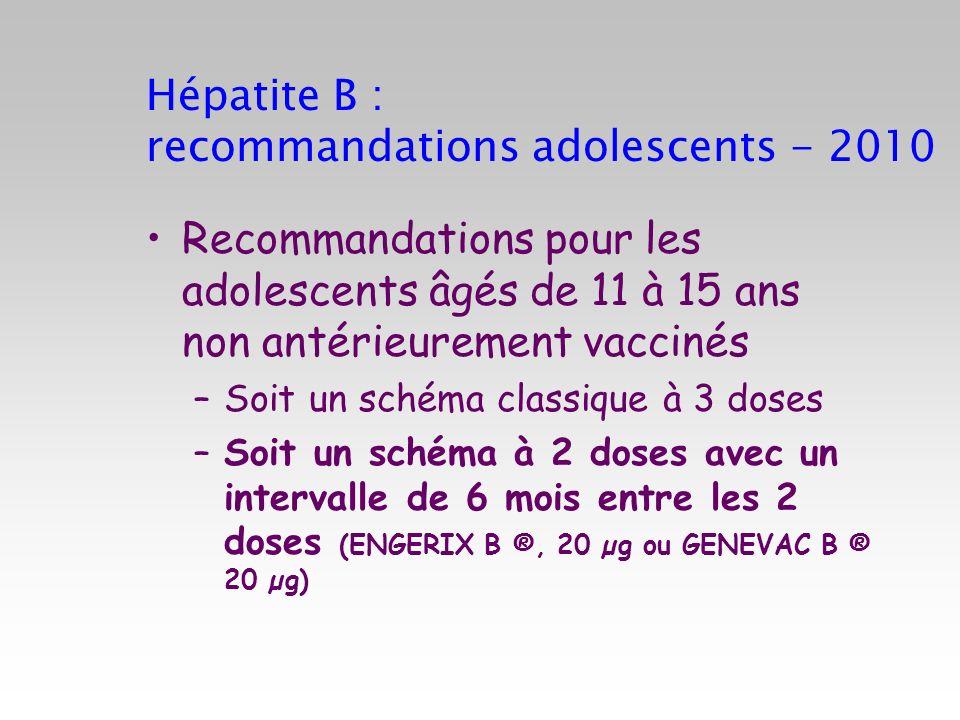 Hépatite B : recommandations adolescents - 2010
