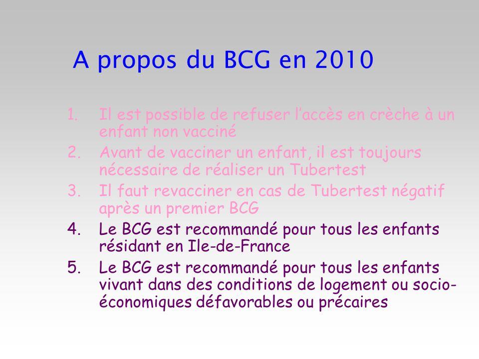 A propos du BCG en 2010Il est possible de refuser l'accès en crèche à un enfant non vacciné.