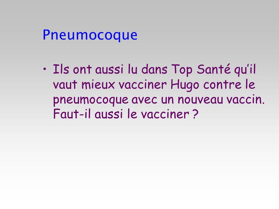 Pneumocoque Ils ont aussi lu dans Top Santé qu'il vaut mieux vacciner Hugo contre le pneumocoque avec un nouveau vaccin.