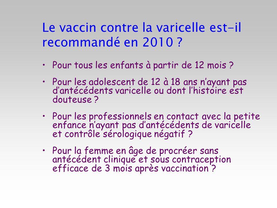Le vaccin contre la varicelle est-il recommandé en 2010