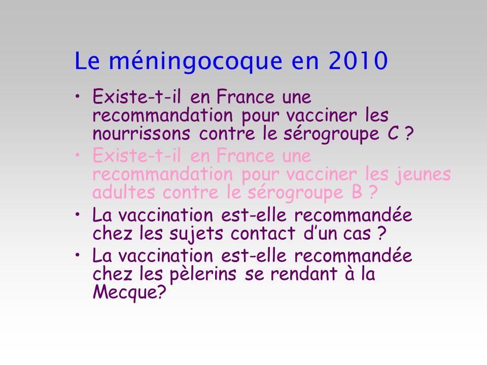 Le méningocoque en 2010 Existe-t-il en France une recommandation pour vacciner les nourrissons contre le sérogroupe C