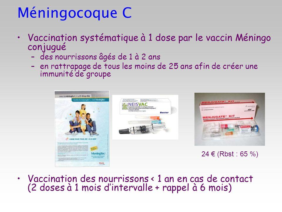 Méningocoque CVaccination systématique à 1 dose par le vaccin Méningo conjugué. des nourrissons âgés de 1 à 2 ans.
