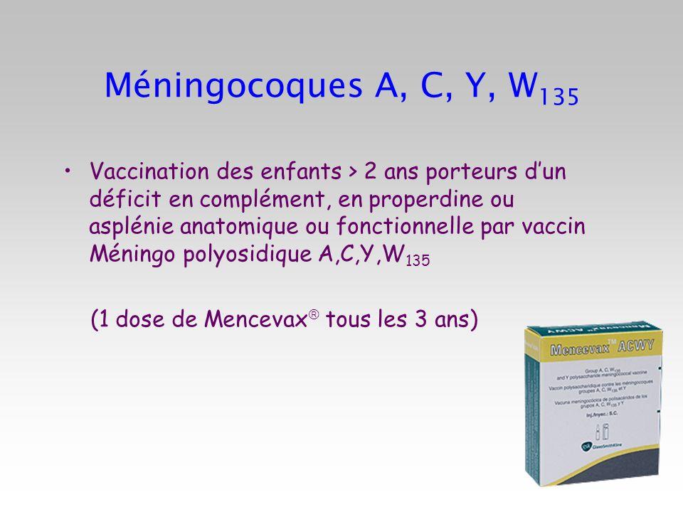 Méningocoques A, C, Y, W135