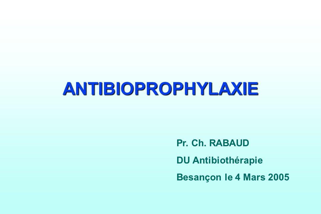 ANTIBIOPROPHYLAXIE Pr. Ch. RABAUD DU Antibiothérapie