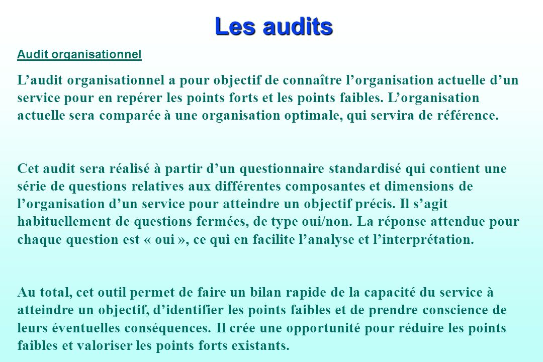 Les audits Audit organisationnel.