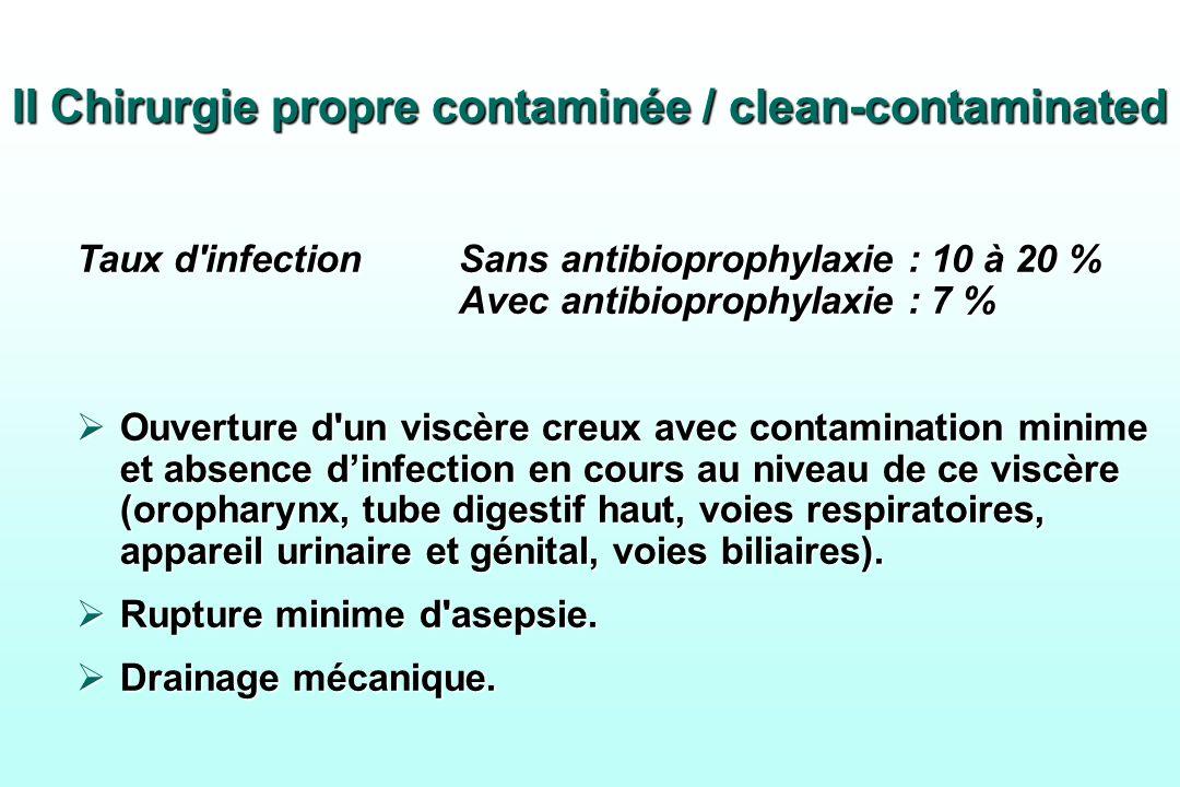 II Chirurgie propre contaminée / clean-contaminated