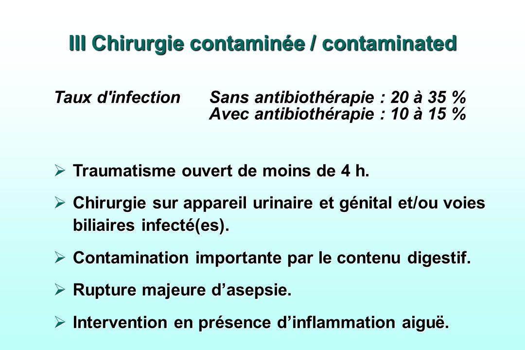 III Chirurgie contaminée / contaminated