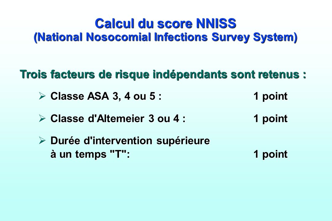 Calcul du score NNISS (National Nosocomial Infections Survey System)