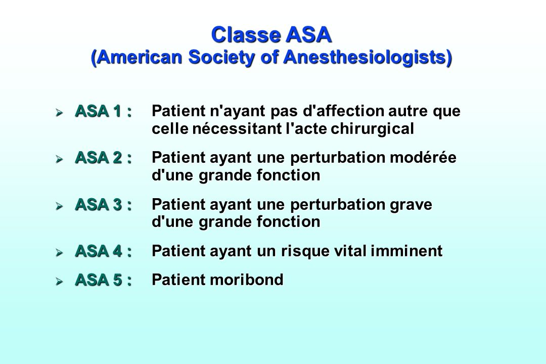 Classe ASA (American Society of Anesthesiologists)