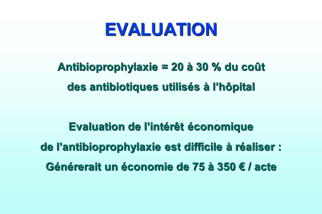 EVALUATION Antibioprophylaxie = 20 à 30 % du coût