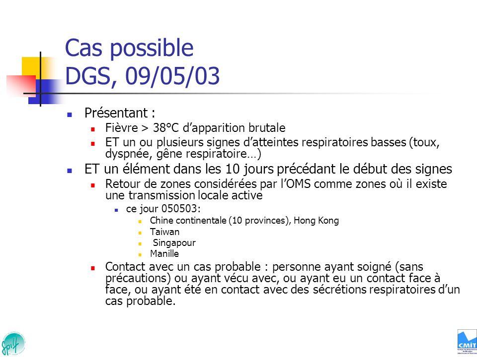 Cas possible DGS, 09/05/03 Présentant :