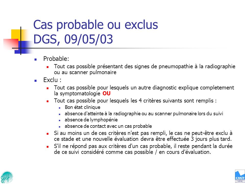 Cas probable ou exclus DGS, 09/05/03