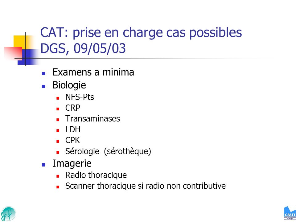 CAT: prise en charge cas possibles DGS, 09/05/03