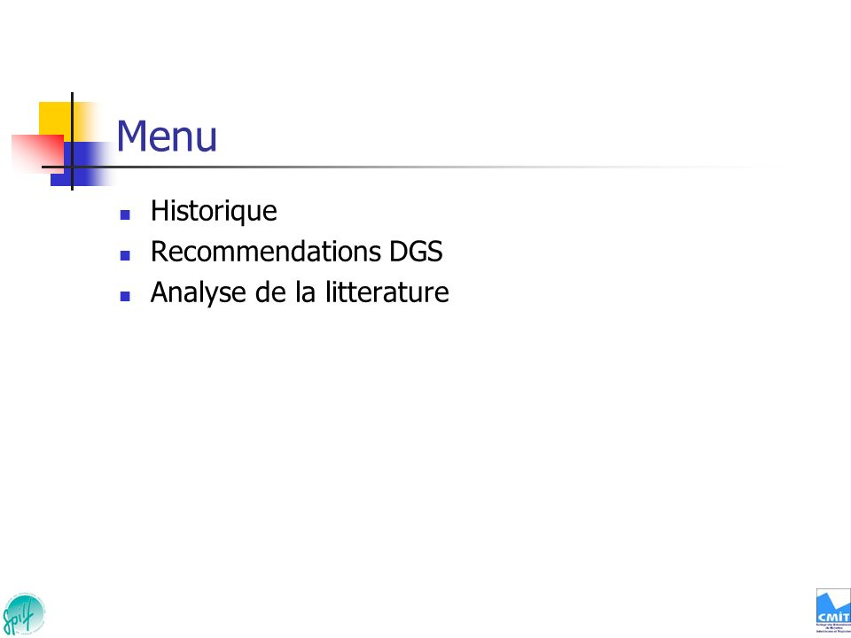 Menu Historique Recommendations DGS Analyse de la litterature